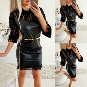 2020 المرأة اللباس الأسود مثير الرباط قصيرة السيدات البسيطة اللباس جلدية فساتين السهرة حزب ثوب Clubwear ملابس الربيع الموضة