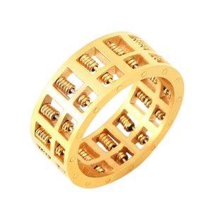 Persönlichkeit Abacus-Ring-Gold überzogene Drehbare Korn-Charme Schmuck Geschenke
