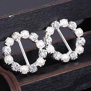 10 pieza redonda Rhinestone de la perla de la cinta hebillas deslizantes adorno de 12mm invitación de la fiesta de bodas