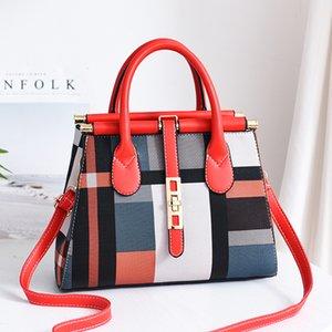 Women's New Fashion Geometry of Mixed Colors Western Plaid Handbag Shoulder Vintage Crossbody Bag Pu Lady Tote Bag