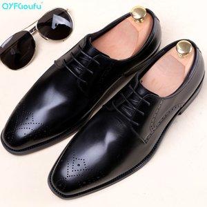 QYFCIOUFU 2019 Handmade scarpe da sposa partito Genuine Leather Derby Brogue Abito scarpe Uomo Scarpe