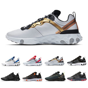 NIKE EPIC REACT ELEMENT 55 Newest Solar Red React Element 55 Total Orange Men Running Shoes For Women Designer Sneakers Sports Couple Trainer 55s Sneakers 36-45