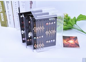 Earring Organizer Ear Nails Transparent Acrylic Jewelry Storage Box Plastic Clear Earrings Dustproof Storage Bins Display Case