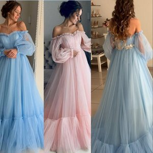 Elegantes vestidos de noche celestes de manga larga con apliques de encaje 2019 con Labourjoisie Dubai Vestidos formales Vestido de fiesta