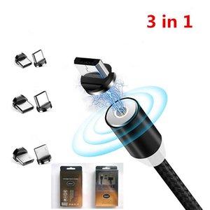 3 em 1 Magnetic Carregador Rápido Linha 2A Nylon Ímã rápido carregamento Cabo de Cable Tipo C Micro USB para Samsung S20 7/8 Além disso MX max XR