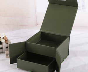 Custom Design boîte flip cadeau d'impression en gros papier couché d'art et boîte pliable en carton gris avec ruban --- DH12752