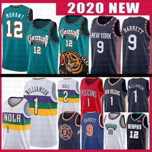 Ja 12 Morant Zion 1 Williamson RJ Basketbol Jersey Lonzo Barrett Topu MemphisGrizzliesYeni Pelican Orleanspelikanlar Grizzlie