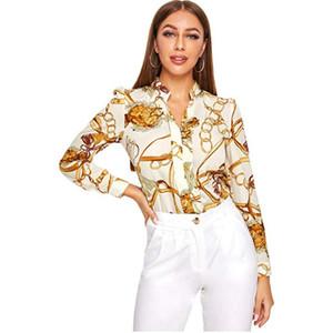 2020 женский досуг V-образным вырезом с длинным рукавом цепи наборы печатных длинные ShirtsSummer Sexy Top Shirt Women Bohemian Short Sleeve Blouses Slim Top