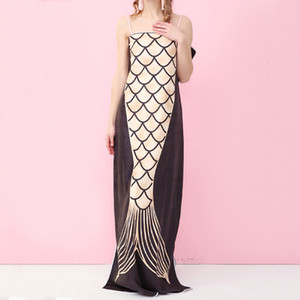 2 colori Mermaid Tail Beach Wearable morbidi asciugamani assorbente Donne Camera Doccia Asciugamani Mermaid Patterned grande tovagliolo di bagno DH1264 T03