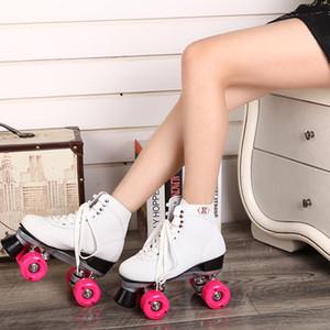 Patín 4 ruedas patines en línea de cuatro rodillos para las niñas zapatos de patinaje blanco y rosa exterior / interior en forma de bota Roller Skates Quad