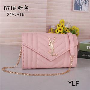 Luxurys carteira desenhadores bolsa couro corrente de metal saco aleta saco de ombro diagonal