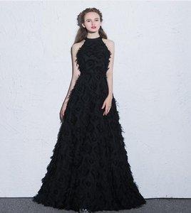 Sexy длинными рукавами вечерние платья 2020 Черный Белый Малые вокруг шеи назад Zipper Специальная ткань Пром платья партии