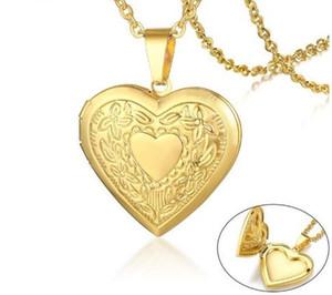 2020 mujeres del Locket del corazón collar de acero inoxidable marco de la foto de la memoria Amor romántica colgante de mujer Promise regalo