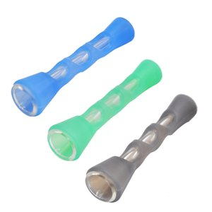 담배 드라이 허브 핸드 파이프 담뱃대 Ecig 흡연 휴대용 포켓 파이프 실리콘 유리 물 파이프 살짝 적셔 조작 FDA 실리콘