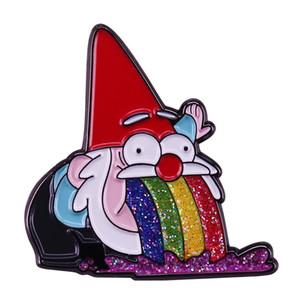 Santa Elf Glitter Rainbow Collar Pin Funny Cartoon Brooch Christmas Gift