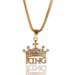 King Crown Necklace Men Ice Out Colgantes Diseñador de la marca Hip Hop Joyería Bling Cubic Zirconia Collar de oro