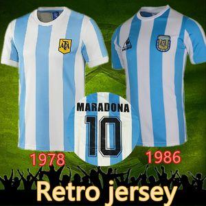 1986 de football maillot rétro argentina 86 Vintage classique Maradona 1978 Retro Argentine Maradona 78 Chemises Maillot de football Camisetas de Futbol