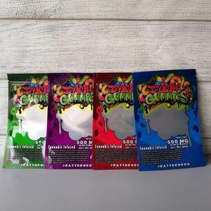 Nuovo Dank gomme al 500mg Maylar borsa Dank Gummies Zipper essiccare il tabacco al dettaglio Borsa Gummy sacchetti di caramelle mylar 500mg sacchi per imballaggio