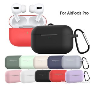 DHL Newest Thick Liquid Silicone Case Waterproof for Apple AirPods Pro with Metal Buckle 12 Colors Optional Earpbuds Case