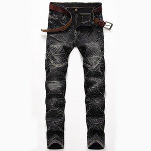 Stretch Jeans Mode pour hommes New droite Washed Pantalons pour hommes 3 couleurs froncé Homme Jeans Cadrage