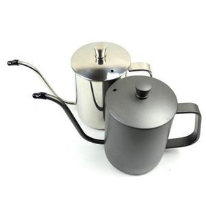 350ml / 600ml caffè Tea Pot 304 in acciaio inox lungo e stretto collo di cigno becco bollitore mano Drip Bollitore versare sopra caffè con coperchio