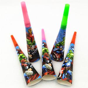 6 adet Boynuz Parti Malzemeleri Trompet Karikatür Tek Kullanımlık Bebek Duş Çocuk Çocuk Süper Kahraman Doğum Günü Partisi Dekorasyon Islık