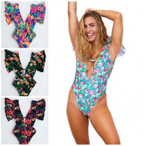 Moda Um ternos Swimmsuit Floral Prints Ruffle Backless profunda V Neck Swimm Wear Sexy Terno Fit Mulher Clothing 33ld E19