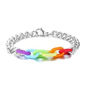 LGBT Rainbow Couple Bracelet Mens womens fashion simple stainless steel acrylic rainbow bracelet Lovers Fashion Jewelry