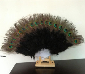 Peacock Fan Plastic Staves Feather Fan for Costume Dance Party Decorative Handheld Folding Fan Multi-color RRA2500