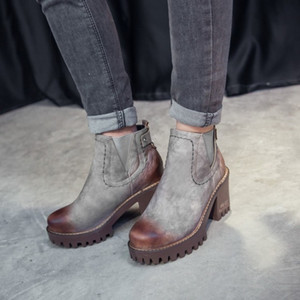 US4-11 Frauen Round Toe Platform Ankle Boots-Block Chunky Heel Oxfords Pull On Punk Motorrad-Schuhe plus Größe 4Colors