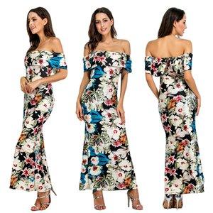 evening dress Print Bohemian Beach Dress Summer Women Chiffon Dress Ruffles Casual Short Sleeve V-Neck Wrap Party Dresses Vestidos