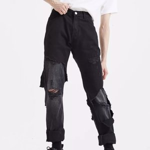 19FW 고민 중공 진 하이 스트리트 레트로 패션 높은 품질의 바지 커플 여성 남성 디자이너 청바지 HFXHKZ015을 씻어