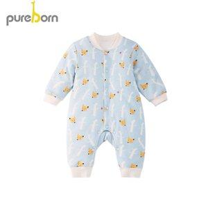 Tulumlar Pureborn Doğan Unisex Erkek Bebek Romper Uzun Kollu Kış Giysileri Kızlar Için Kalınlaşmak Karikatür Tulum Kostümleri
