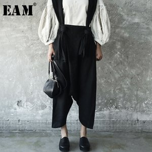 [EAM] 2020 New Spring Temperament Strapless Two Pocket Wide Leg Pants Women Fashion Tide All-match JE8201S Y200418
