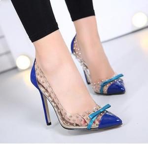 40 41 Seksi Turuncu Mavi PVC Şeffaf Yüksek Topuklar Perçinler boyut 35 Çivili Ayakkabı Sivri Elbise Ayakkabı