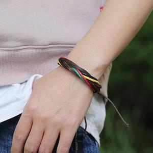 Богемия ретро плетеный кожаный женский браслет красочные ручной работы обернуть регулируемые Beacelets для мужчин ювелирные изделия