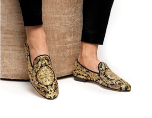Zapatos Hombre New Men Blue Footwear Handmade Golden Embroidery Loafers Man Slip On Flats Men Dress Shoes Size 38-46