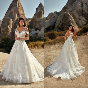 Eddy K 2021 Wedding Dresses Spaghetti Straps Open Back A-Line Bridal Gowns Custom Made Lace Appliques Sweep Train Beach Wedding Dress