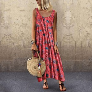 Women Summer Vintage Floral Print Casual Holiday Dresses Beach Party Round Neck Sleeveless Tank Dress Long Dresses