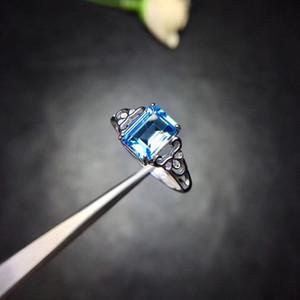 Uloveido Natural Topaz Ring 925 Silver Emerald Cut Blue Gemstone Wedding Promise Ring para mujeres Fj351 J190709