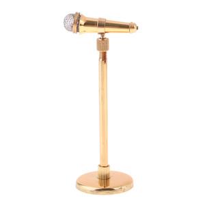1/12 miniature réglable Instruments de musique en alliage Microphone objets de collection avec Piètements, Maison de poupée Artisanat d'affichage