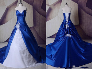 2020 Royal Blue White Wedding Dresses Real Photos Cheap Applique Beaded Sequined Court Train long Bridal Gowns Plus size New