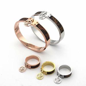 Couro pulseira anel 316 L anel Sets homens das mulheres de ouro rosa inoxidável de prata do casamento jóias carta de amor pulseira de presente atacado aniversário