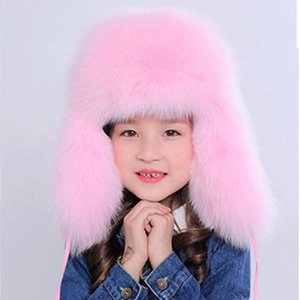 Russische Mode Real Pelzmützen Kinder Herbst-Winter-Kind-Jungen-Mädchen Warm Cotton Pelzmütze Schöne Kind-Hut Lei Feng Cap H # 09