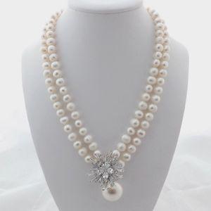 Collier de perles d'eau douce 7-8mm blanc charme micro marqueterie accessoires de zircons coquille 45-48cm Pendentif long