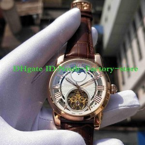 NEW Factory Photographs Men's Rose Gold Carving Case Automatic Hollow Movement Work Brown Leather Sport Wrist Watches Original Box