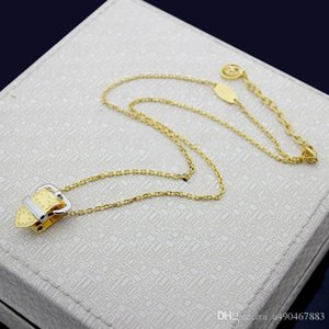 New high quality fashion brand titanium steel necklace 18K gold belt type pendant necklace suitable for catwalk and couple gifts