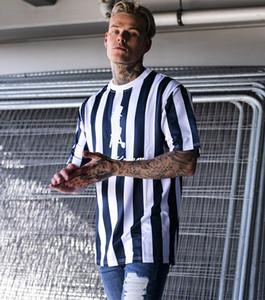 صور حقيقية 2019 مصمم الأزياء مخطط الرجال القمصان سريعة جاف الرجال القميص قصير الأكمام الجري شيرت الأعلى تيز المد العلامة التجارية بالجملة