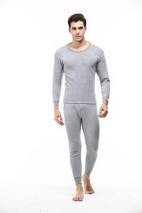 Homens Inverno Pijamas Suits cor sólida T-shirts calças compridas 2pcs Roupa Define Sets Bottoming pijama