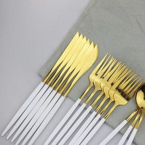 30Pcs Dinner Knife 304 Fork Set Stainless Tableware Dinnerware Set Gold Kitchen Home Steel Silverware Dessert Cutlery Spoon Wudv White Qtpa